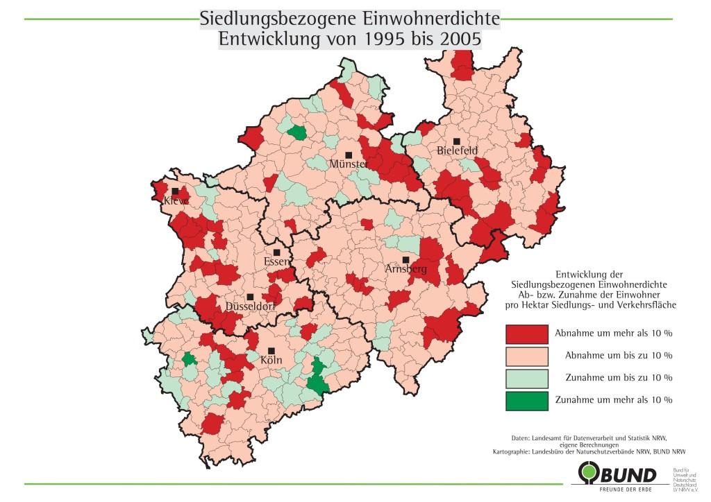 1995-2005 Einwohnerdichte NRW